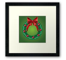 Christmas wreath with red bow Framed Print