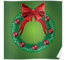 Christmas wreath with red bow Poster