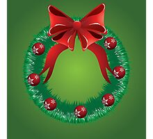 Christmas wreath with red bow Photographic Print