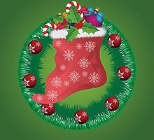 Christmas wreath with Santa sock by AnnArtshock