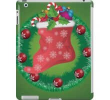 Christmas wreath with Santa sock iPad Case/Skin