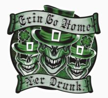 Leprechaun skull Trio: Erin Go Home, Yer Drunk 2 Kids Tee