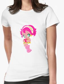 Cute funny girl with a heart Womens Fitted T-Shirt