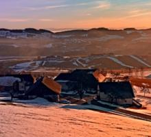 Colorful winter wonderland sundown   landscape photography Sticker