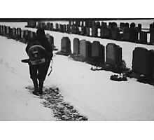 MAN IN SNOWY CEMETERY  Photographic Print