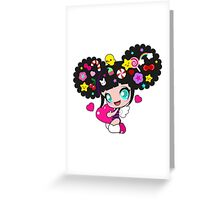 Cute little girl with candy in her hair, wings and hearts Greeting Card