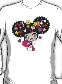 Cute little girl with candy in her hair, wings and hearts T-Shirt