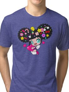 Cute little girl with candy in her hair, wings and hearts Tri-blend T-Shirt