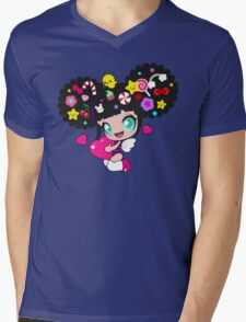 Cute little girl with candy in her hair, wings and hearts Mens V-Neck T-Shirt
