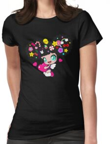 Cute little girl with candy in her hair, wings and hearts Womens Fitted T-Shirt