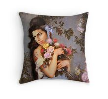 Amy Winehouse in a Rose Garden  Throw Pillow