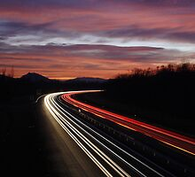 Dusk on the Highway by Sylvain Girard