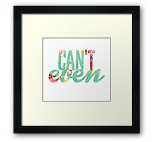 Like, I Can't Even Vintage Green Floral Print Design Framed Print
