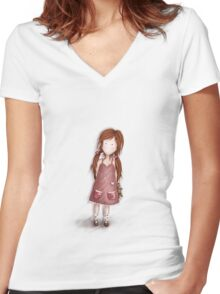 Girl with her teddy Tshirt 1 Women's Fitted V-Neck T-Shirt