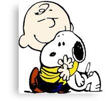 Snoopy hugs Charlie Brown Canvas Print