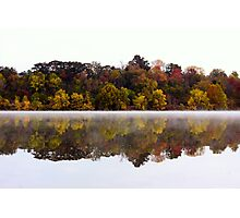 Fall and Fog on Springfield Lake Photographic Print