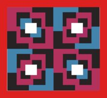 Trippy Squares - Pink Kids Tee