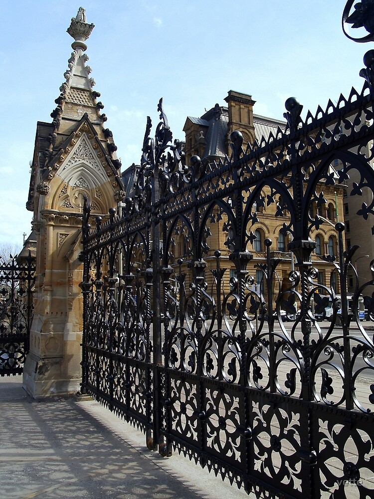 Wrought Iron Fence at Parliament Buildings, Ottawa, Canada by vette