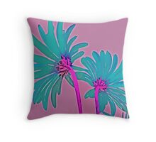 Pink and Teal Blue Flower Pop Art Abstract Color Design Throw Pillow