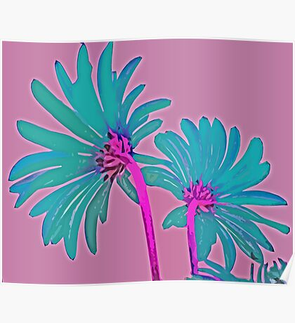Pink and Teal Blue Flower Pop Art Abstract Color Design Poster