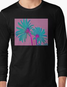 Pink and Teal Blue Flower Pop Art Abstract Color Design Long Sleeve T-Shirt