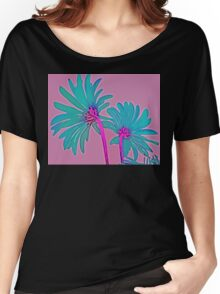 Pink and Teal Blue Flower Pop Art Abstract Color Design Women's Relaxed Fit T-Shirt