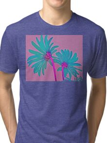 Pink and Teal Blue Flower Pop Art Abstract Color Design Tri-blend T-Shirt