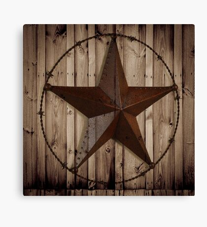 vintage western country barn wood grunge texas star  Canvas Print