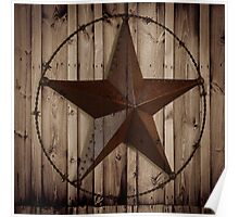 vintage western country barn wood grunge texas star  Poster
