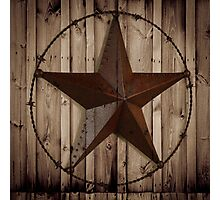 vintage western country barn wood grunge texas star  Photographic Print