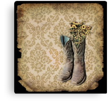 rustic modern brown damask western country cowboy boots Canvas Print