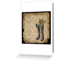 rustic modern brown damask western country cowboy boots Greeting Card