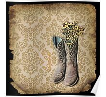 rustic modern brown damask western country cowboy boots Poster