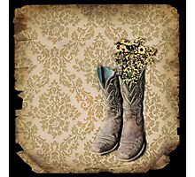 rustic modern brown damask western country cowboy boots Photographic Print