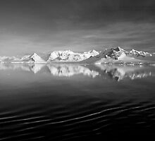Sunset over the Neumayer Channel, Antarctica - Number three mono by cpcphoto