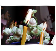 Candles And Lotus Buds Poster