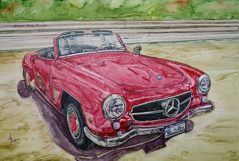 1962 mercedes benz 190sl posters by bar art redbubble for Mercedes benz wall posters
