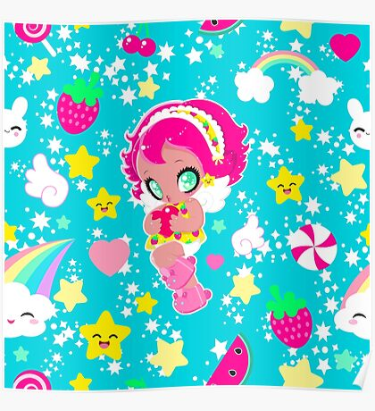 Cute funny girl with a heart pattern Poster