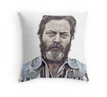 Ron Swanson (Nick Offerman) - An American Hero Throw Pillow