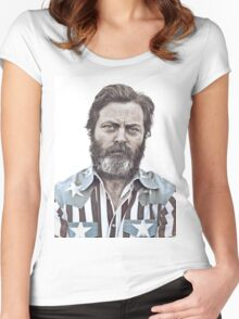 Ron Swanson (Nick Offerman) - An American Hero Women's Fitted Scoop T-Shirt