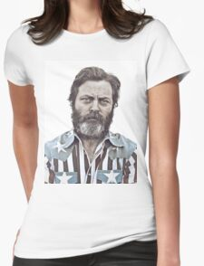 Ron Swanson (Nick Offerman) - An American Hero Womens Fitted T-Shirt