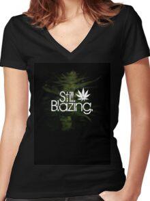 Still Blazing - Black Women's Fitted V-Neck T-Shirt