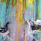 Ducks Meet at sunset in the swamp watercolor pouring ink method by coolart