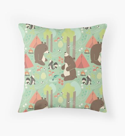 Bears of Summer Throw Pillow