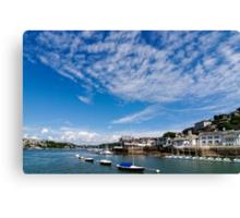 View from river Dart towards Dartmouth, Devon, England  Canvas Print