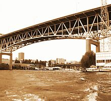 I5 Bridge- sepia by Rebecca Jarboe