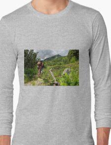 Tourists climbing the Pirin mountain in Bulgaria Long Sleeve T-Shirt