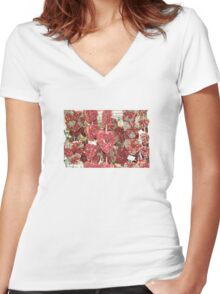 Hearts Full Of Flowers Women's Fitted V-Neck T-Shirt