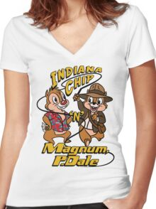 Indiana Chip 'n' Magnum, P.Dale Women's Fitted V-Neck T-Shirt