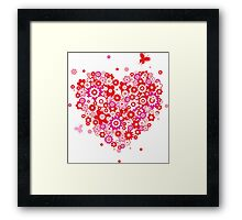 Valentines Heart Made of Flowers and Butterflys Framed Print